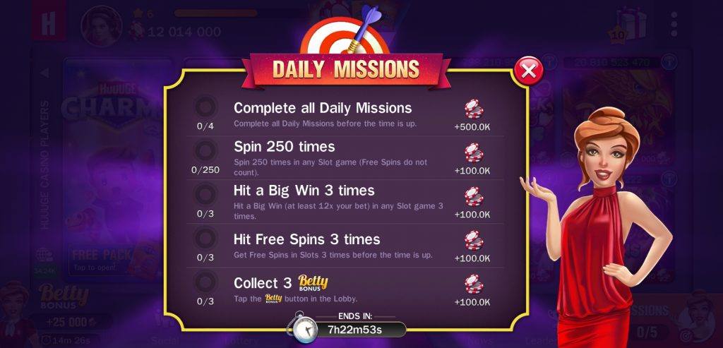 huuuge casino daily missions